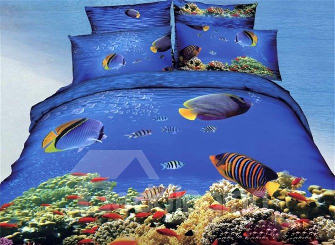 Underwater World Fish And Coral Tree Print Duvet Cover