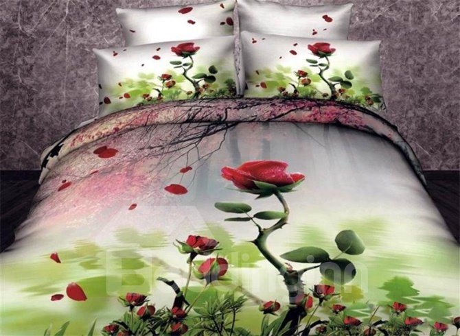 Red Rose and Cherry Branch Print Duvet Cover Sets 10909433