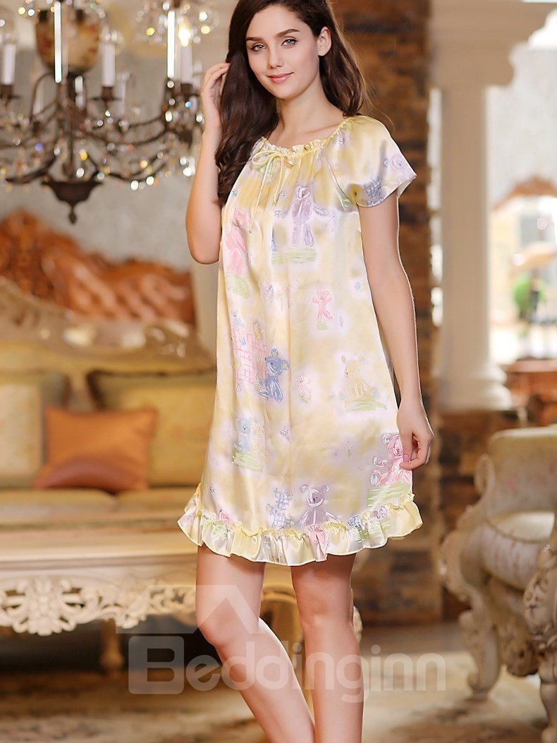 New Arrival Floral Print Elegant Sleepwear with Short Sleeves