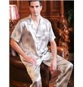 High Quality Comfortable Short Sleeves Silk Male Sleepwear