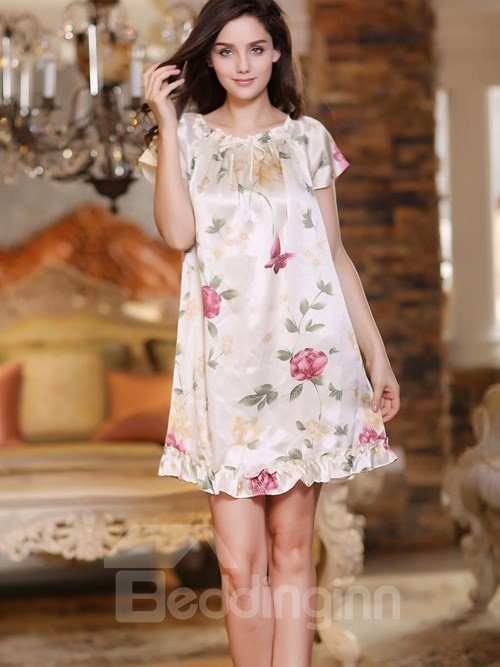 Sweet Princess Style Floral Print Elegant Sleepwear with Short Sleeves