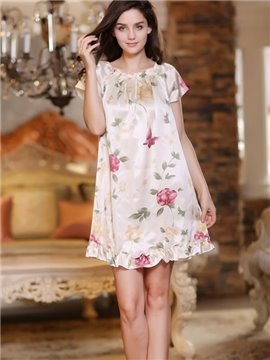 Sweet Princess Style Floral Print Elegant Sleepwear with Short Sleeves