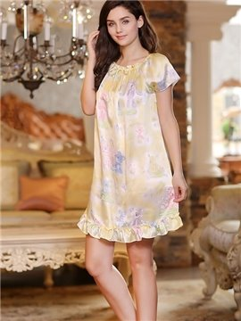 Sweet Princess Style Floral Print Elegant Sleepwear with Ruffles on the Bottom
