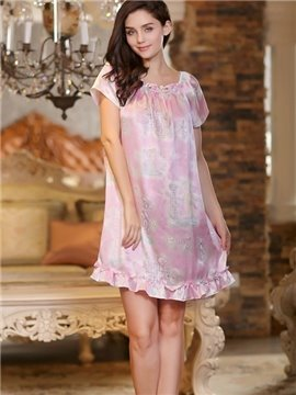 Sweet Princess Stylish and Fashion Floral Print Elegant Sleepwear