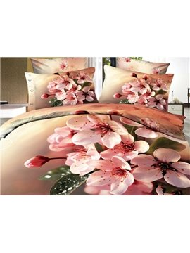 Beautiful Pink Flowers Print 3D Bedding Sets