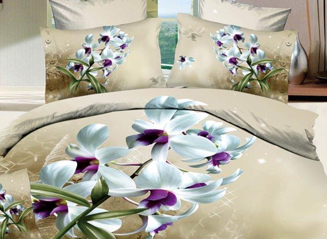 A Bouquet of White Flowers Print 3D Bedding Sets