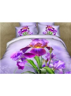 Pretty Purple Dutch Iris Print 3D Duvet Cover Sets
