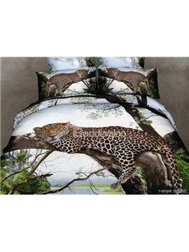 New Arrival Ink Leopard Printed 4 Piece Bedding Sets