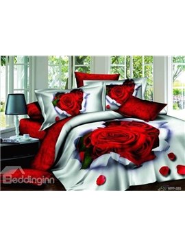 New Arrival Romantic Rose Printed 100% 4 Piece Bedding Sets