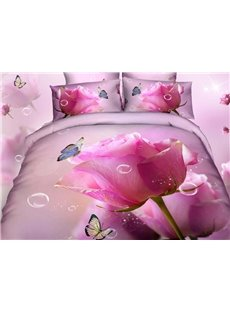 Top Selling France Rose Oil Painting 4 Piece Bedding Sets