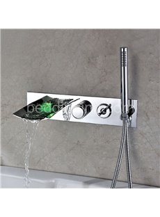 New Arrival LED Color Changing Widespread Waterfall Bathtub Faucet