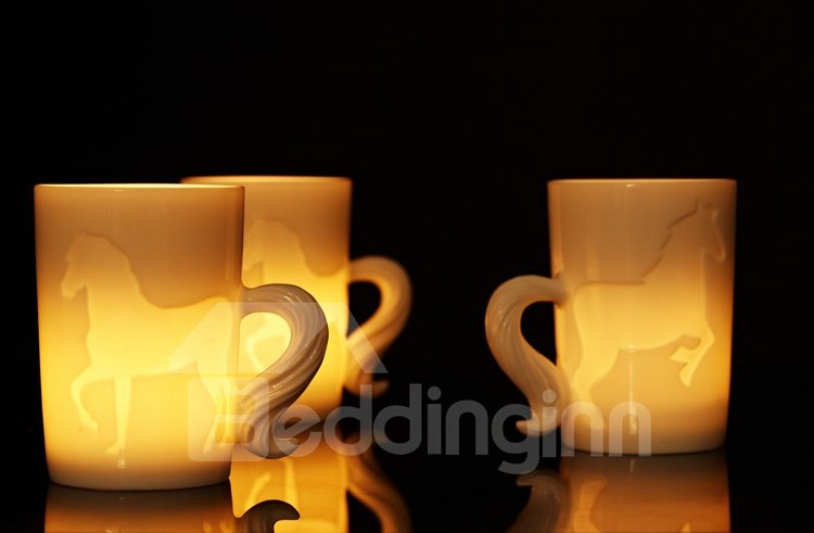 New Arival Stylish Creative 3D Ceramic Horse Pattern Dual Purpose Candle Holder and Coffee Mug