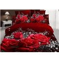 Big Rose and White Floral Print 3D Duvet Cover Sets