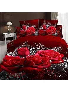 romantic big rose and white floral print 3d duvet cover sets