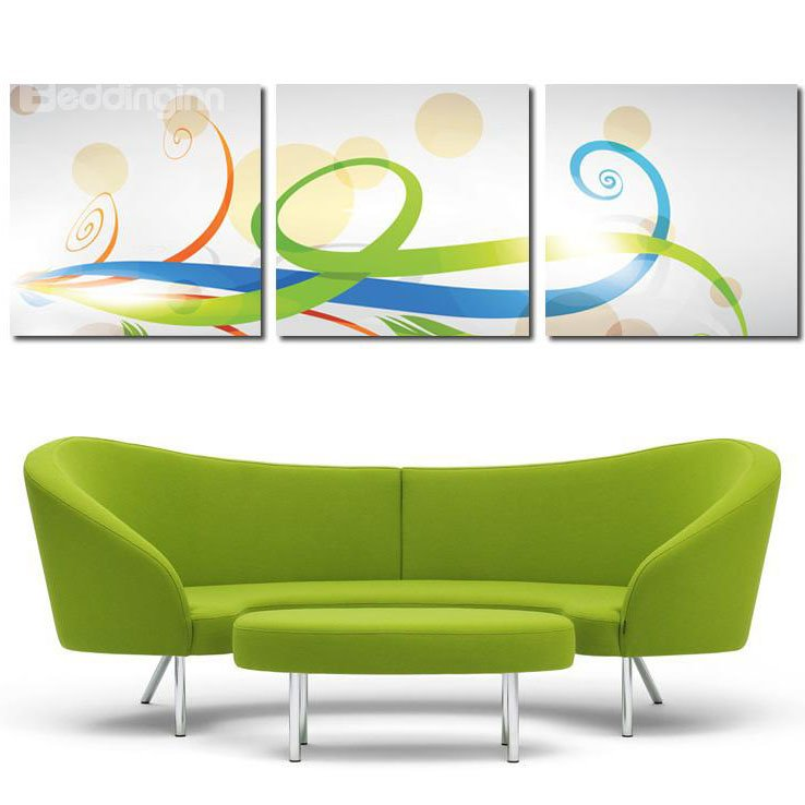 New Arrival Green Red & Blue Silk Ribbon Cross Film Wall Art Prints