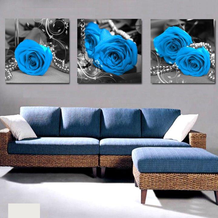 Elegant Blue Roses & Pearl Cross Film Wall Art Prints