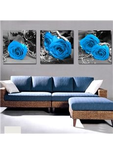 new arrival elegant blue roses pearl cross film wall art prints