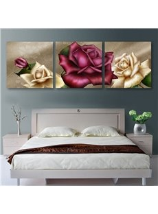 Graceful Roses Pattern 3 Panels Cross Film Wall Art Prints