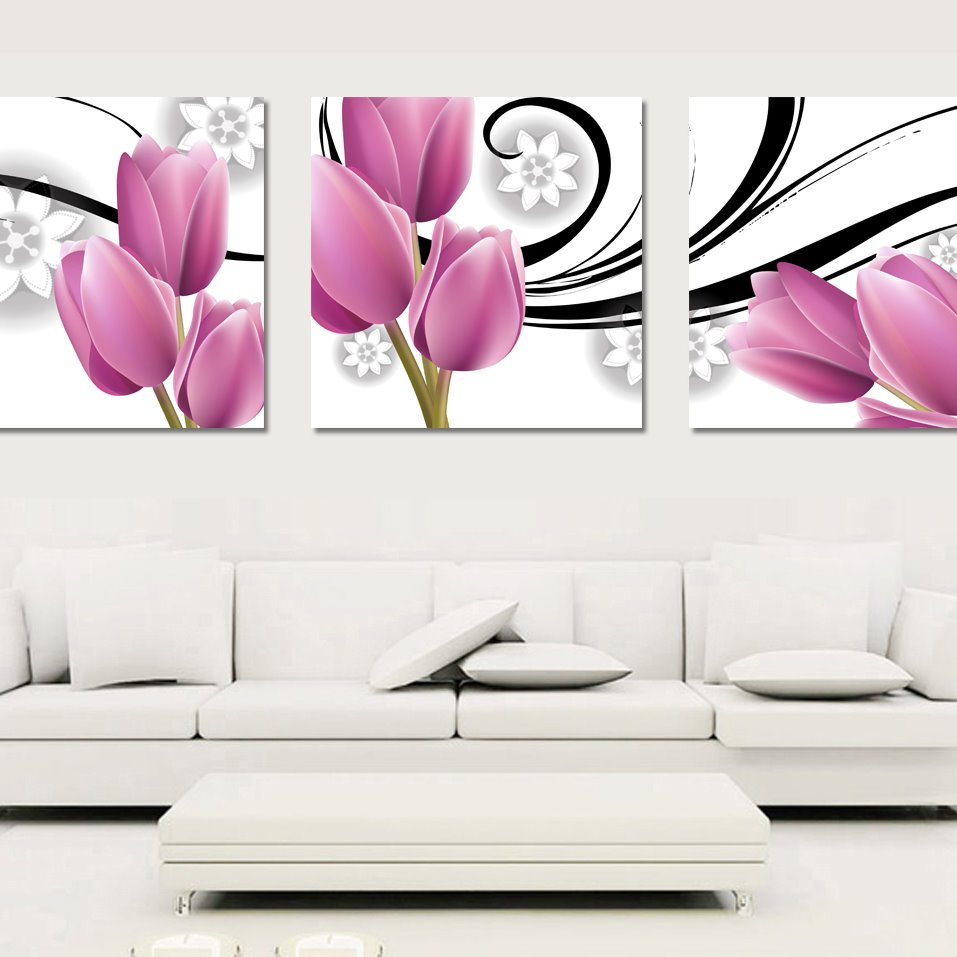 Pink Elegant Tulip Pattern Cross Film None Framed Wall Art Prints