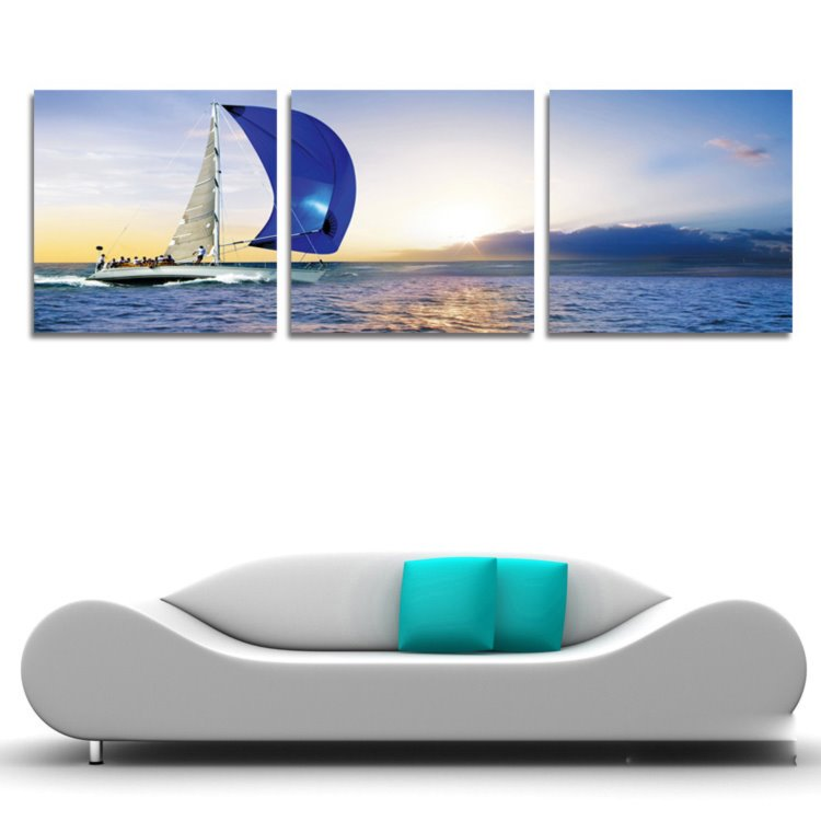 New Arrival People On The Sailing Boat & Sunrise Cross Film Wall Art Prints