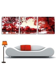 New Arrival Trees With Red Leaves Cross Film Wall Art Prints