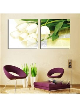 New Arrival White Tulip With Its Leaves Cross Film Wall Art Prints