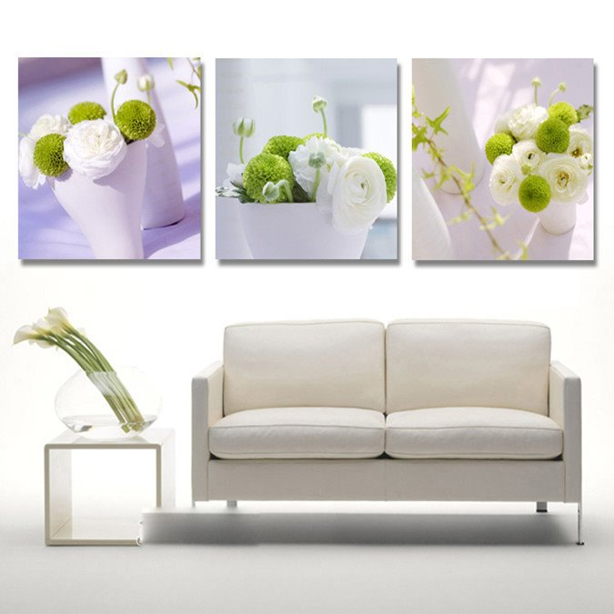 New Arrival White And Green Flowers In The Cups Cross Film Wall Art Prints 10917296
