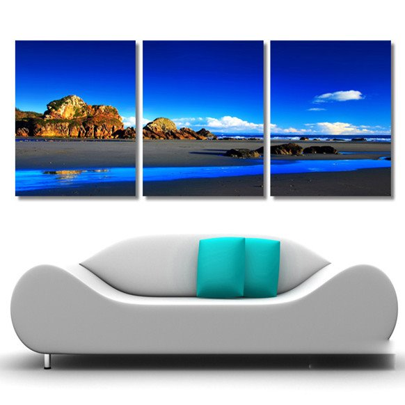 New Arrival Blue Sky White Clouds And The Lake Cross Film Wall Arts Prints