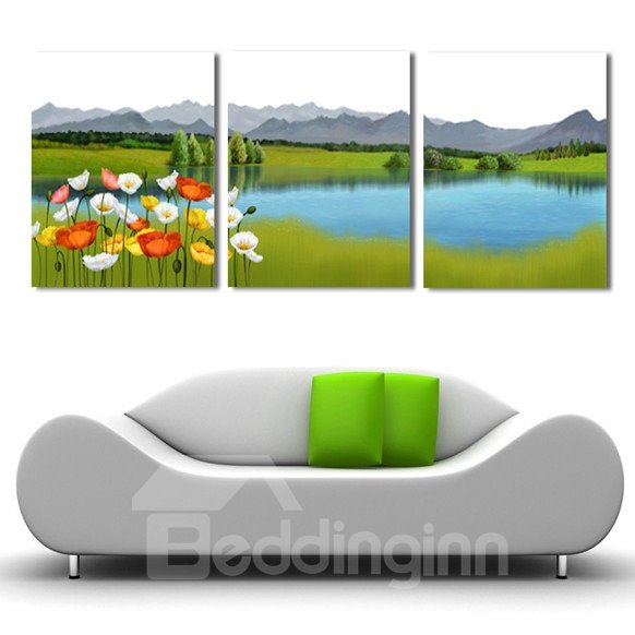 New Arrival Colorful Flowers On The Grassland And Lake Cross Film Wall Art Prints