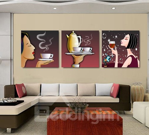 New Arrival Sexy Woman With Hot Coffee Cross Film Wall Art Prints