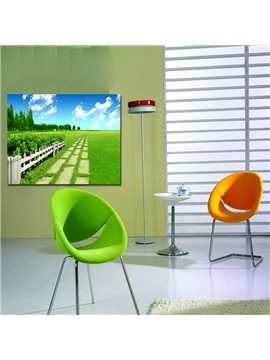New Arrival Blue Sky White Coluds And Green Grassland Cross Film Wall Art Prints