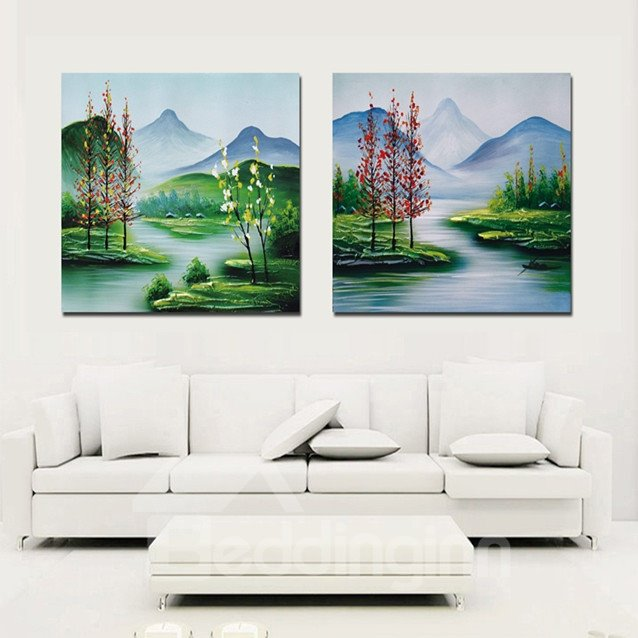 New Arrival Beautiful Flowers Lake And Mountains Cross Film Wall Art Prints