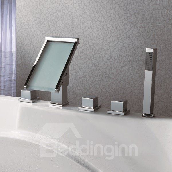 Top Selling High Quality LED Color Changing Rectangle Head Bathtub Faucet