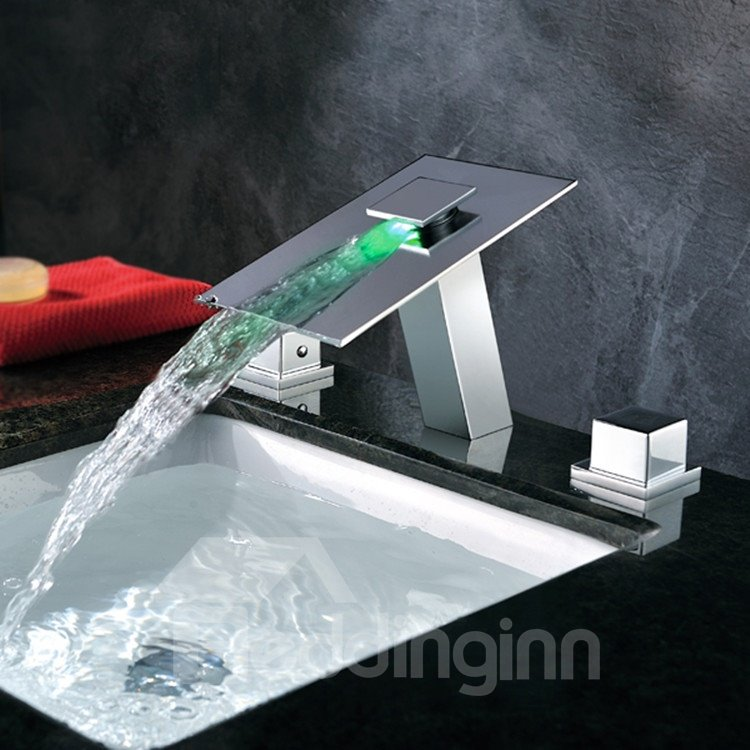 High Quality LED Color Changing By Temperature Double Handles Bathroom Sink Faucet