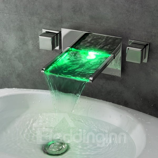 New Arrival Creative LED Color Changing Widespread Waterfall Bathroom Sink Faucet