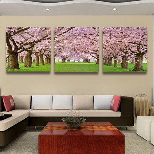 Romantic Pink Cherry Blossom Pattern None Framed Film Wall Art Prints
