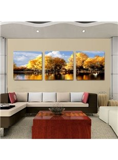 New Arrival Trees With Yellow Leaves And Lake Film Wall Art Prints