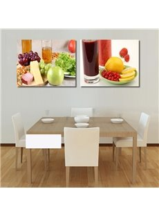 Delicious Food And Beverage Pattern 2-Panel Wall Art Prints