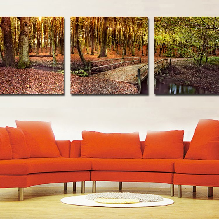 Beautiful Bridge on the Lake Forest Scenery Pattern Film Wall Art Prints