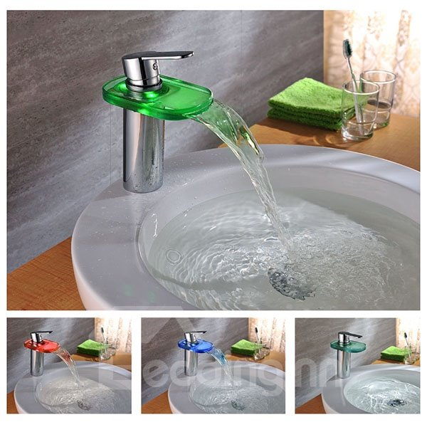 High Quality Stunning One Handle LED Color Changing by Temperature Bathroom Sink Faucet
