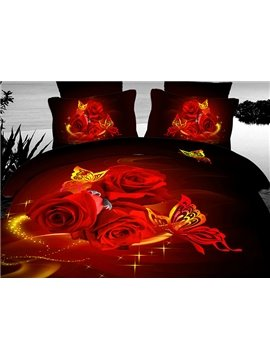 Very Beauty Red Rose and Flying Butterfly Print 3D Duvet Cover Set