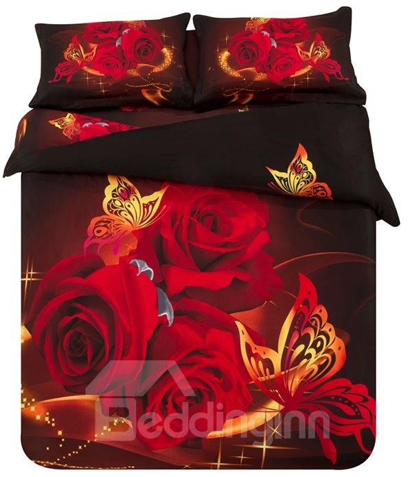 Very Beautiful Red Rose And Flying Butterfly Print 3d