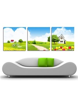 New Arrival Green Grassland Beautiful Flowers And House Film Wall Art Prints