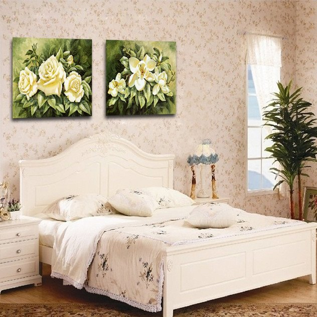 New Arrival Delicate White Flowers And Green Leaves Film Wall Art Prints 10919477