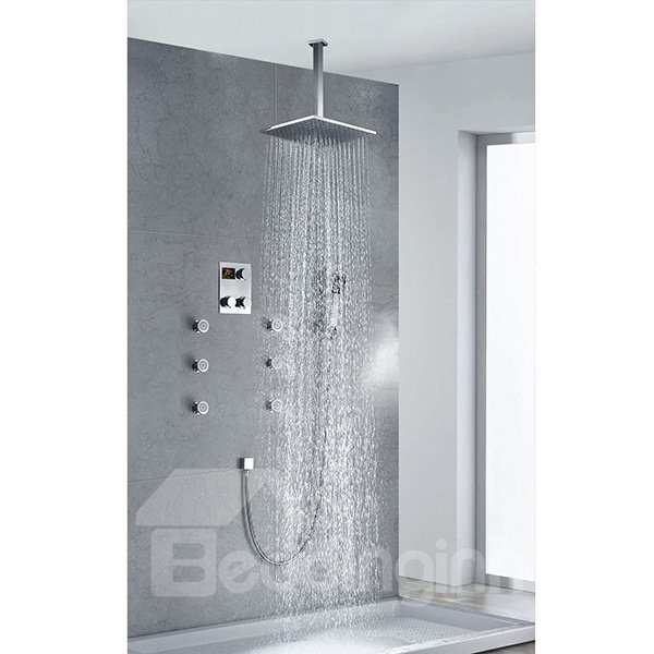 Fantastic Thermostatic Digital Display Square Shower Head Sidespray Faucet