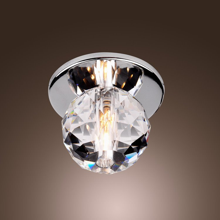 Modern K9 Crystal Ball Mini Chrome Finish Flush Mount