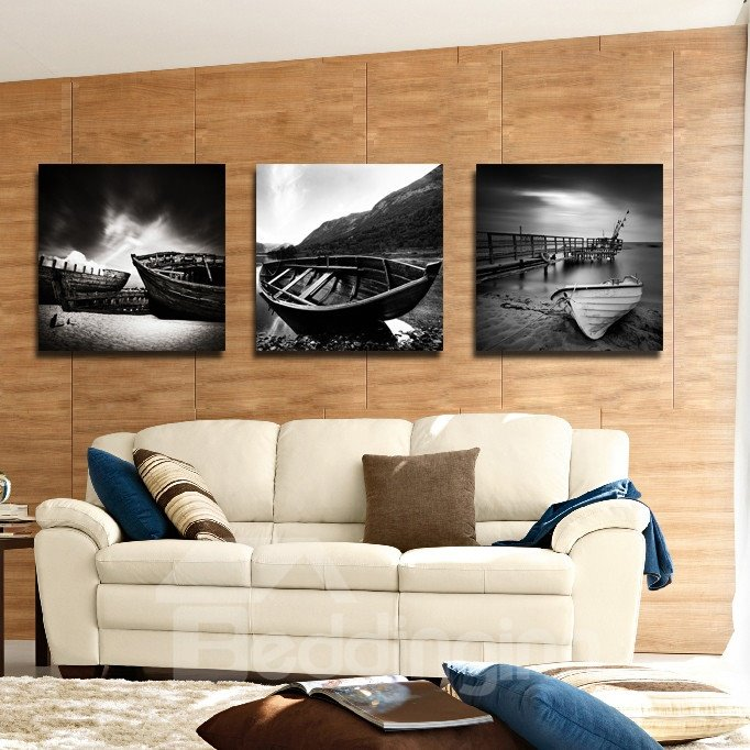 New Arrival Boat And Dark Clouds Film Wall Art Prints