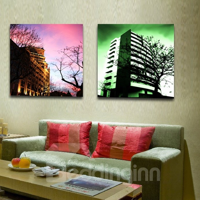 New Arrival Grand Buildings And Colorful Clouds Film Wall Art Prints