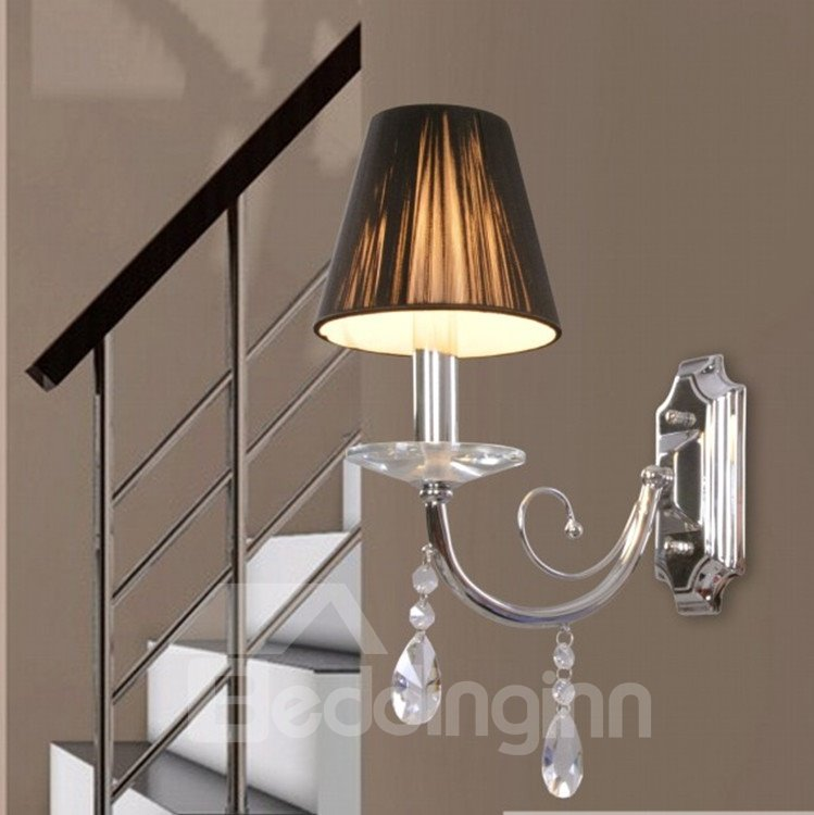 Crystal Wall Lamp Shades : Tempting Elegant Fabric Shade Crystal Wall Light - beddinginn.com