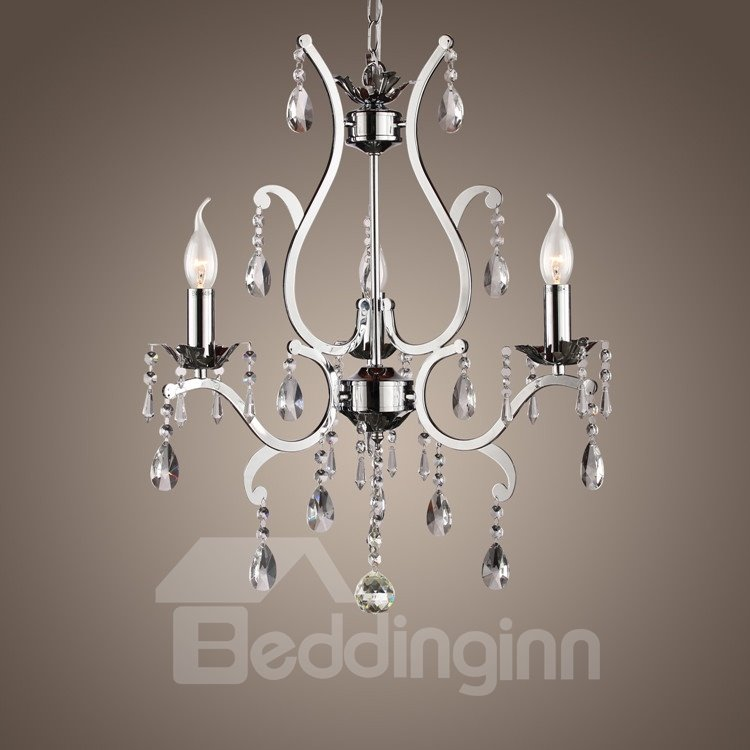 Metal Simple Design  Crystal 3 Lights Chandelier